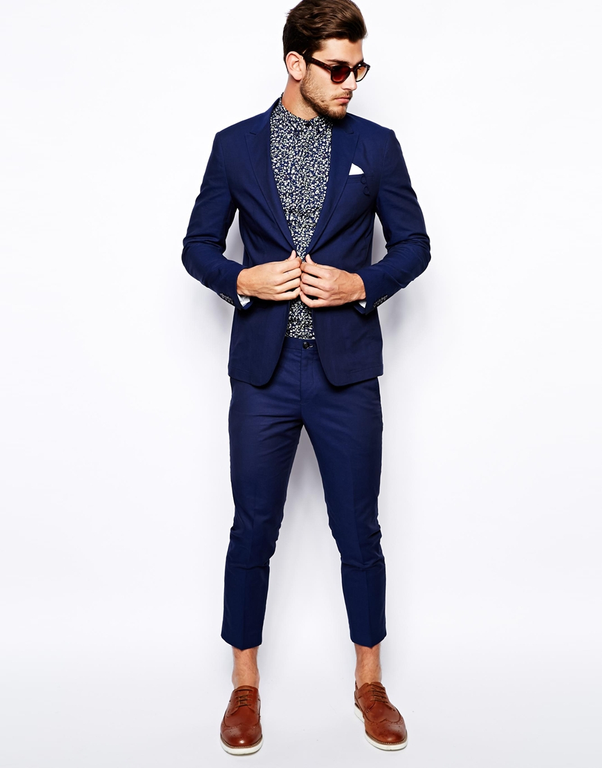Selected Linen Mix Casual Suit Pants in Blue for Men | Lyst