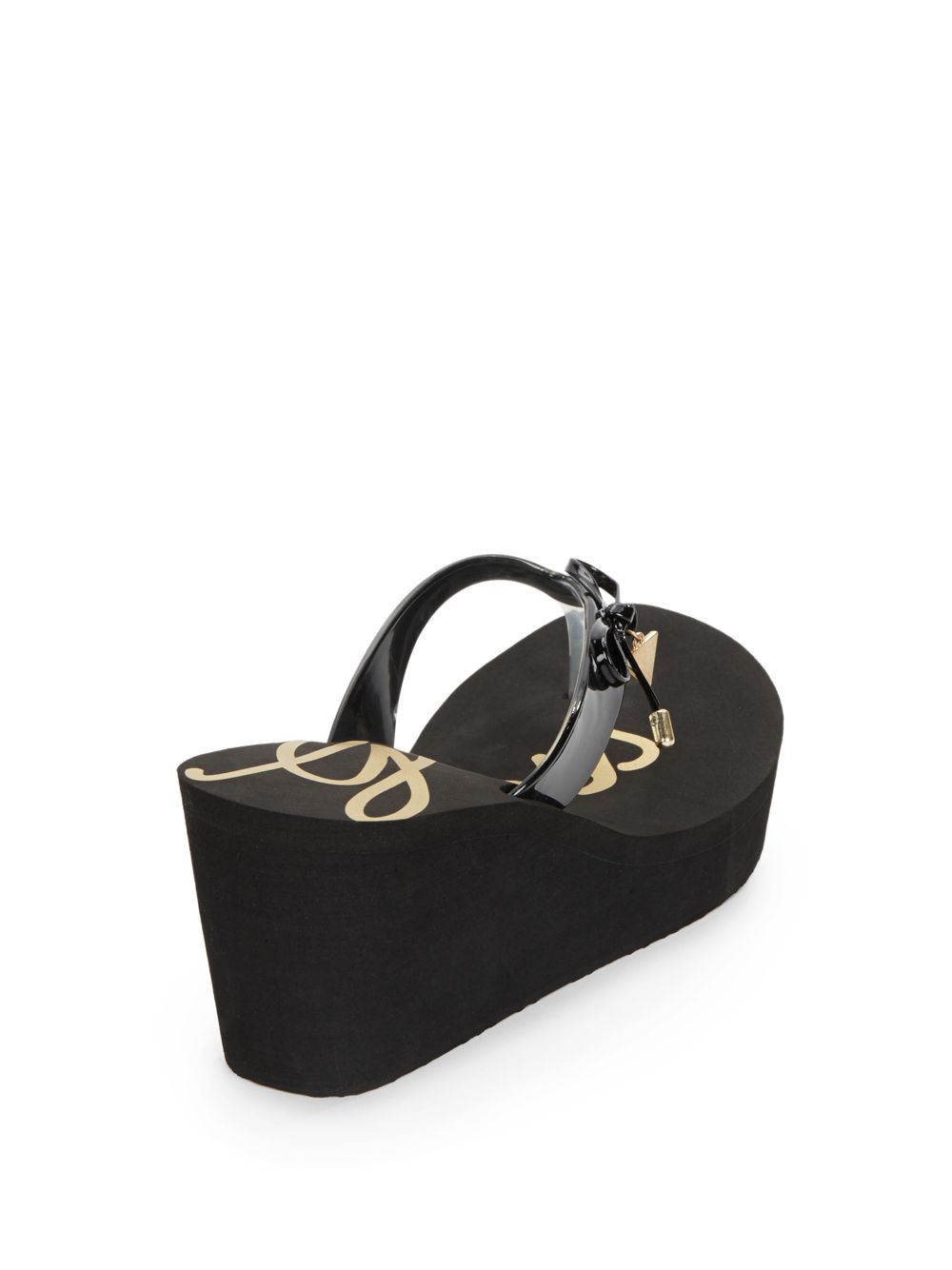bde3c7786dc37e Lyst - Guess Syona Bow Platform Wedge Sandals in Black
