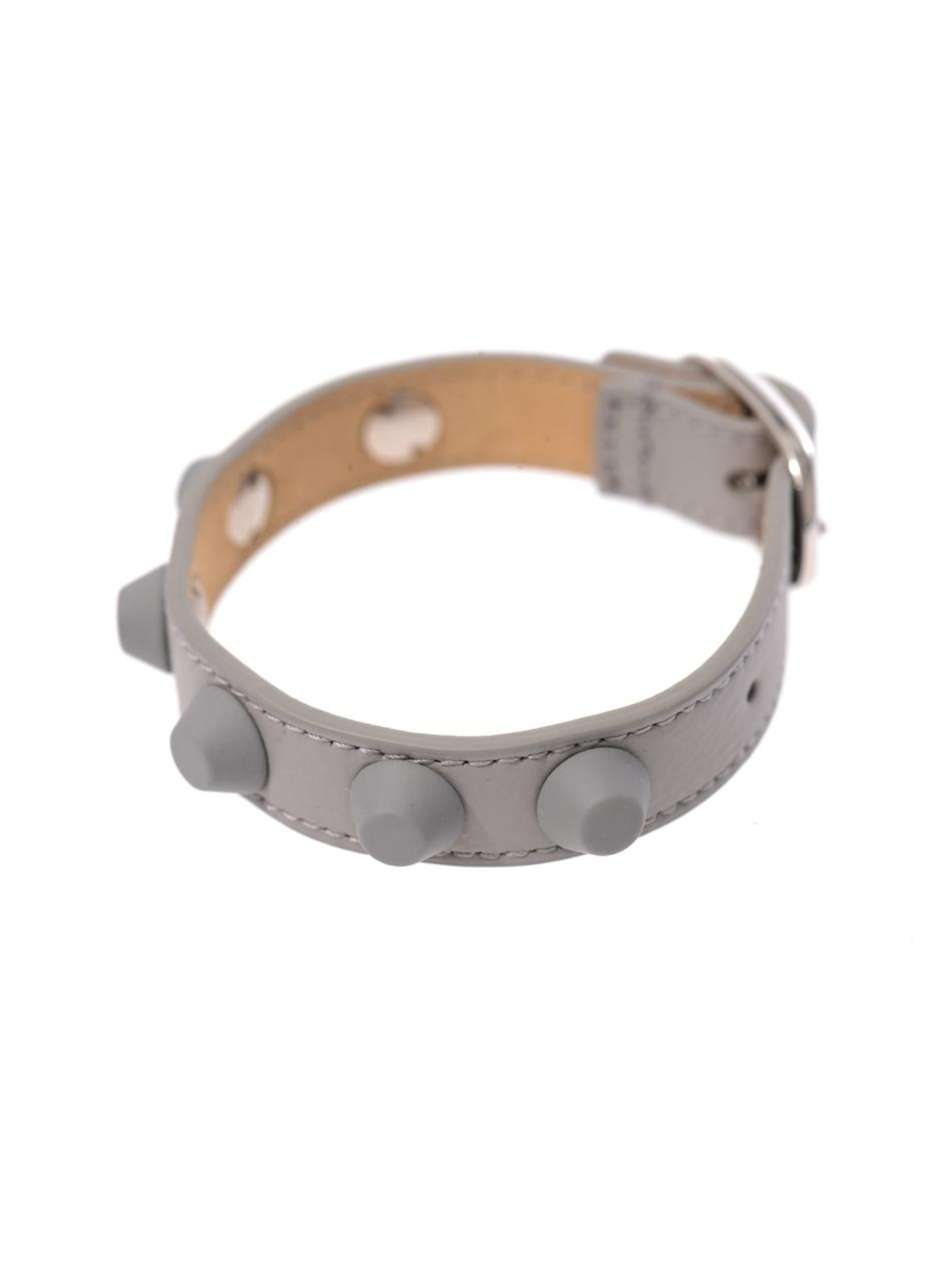 Balenciaga  Gray Rubber Studded Leather Bracelet  Lyst