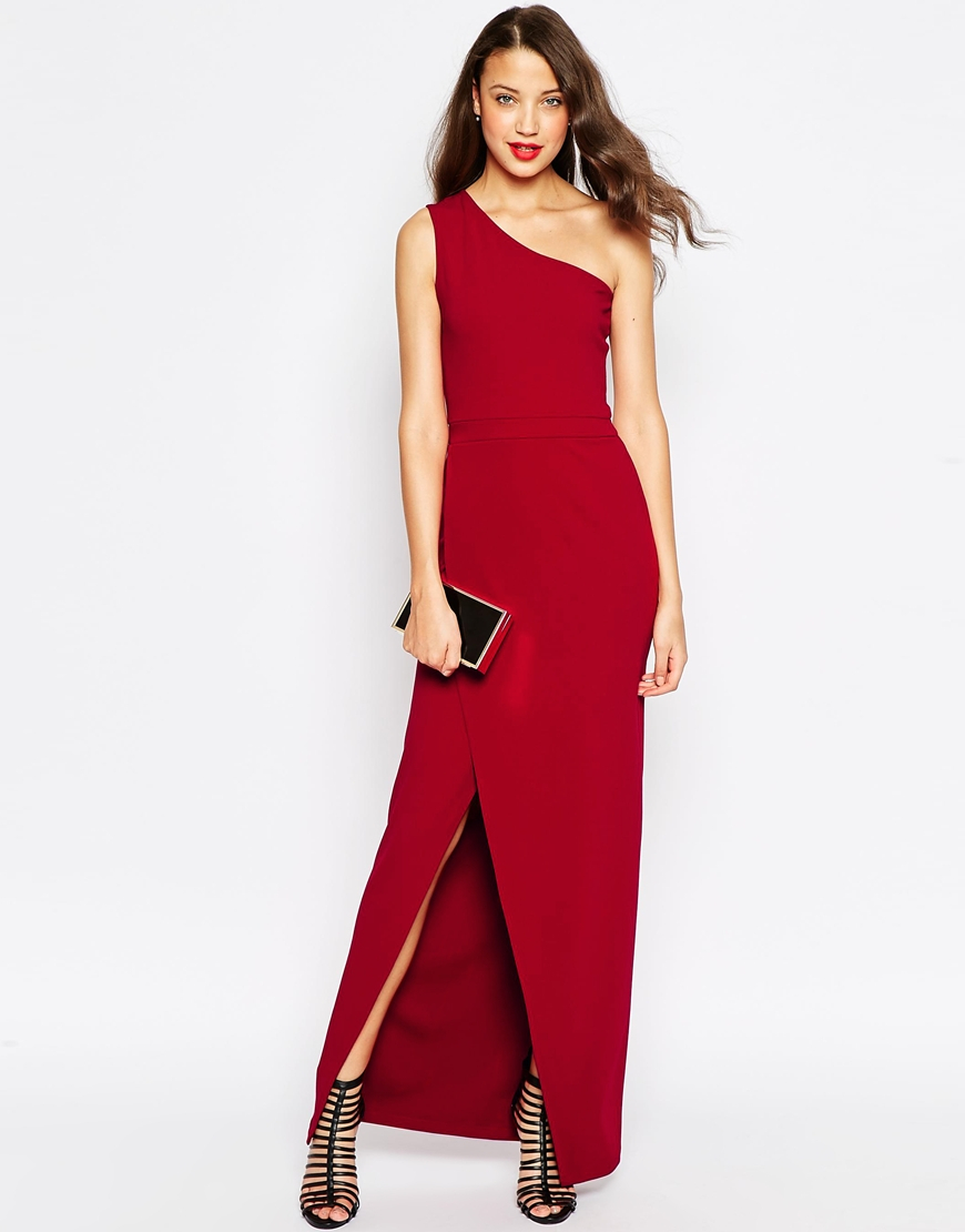 0a358566da2 ASOS Red Carpet One Shoulder Maxi Dress in Black - Lyst