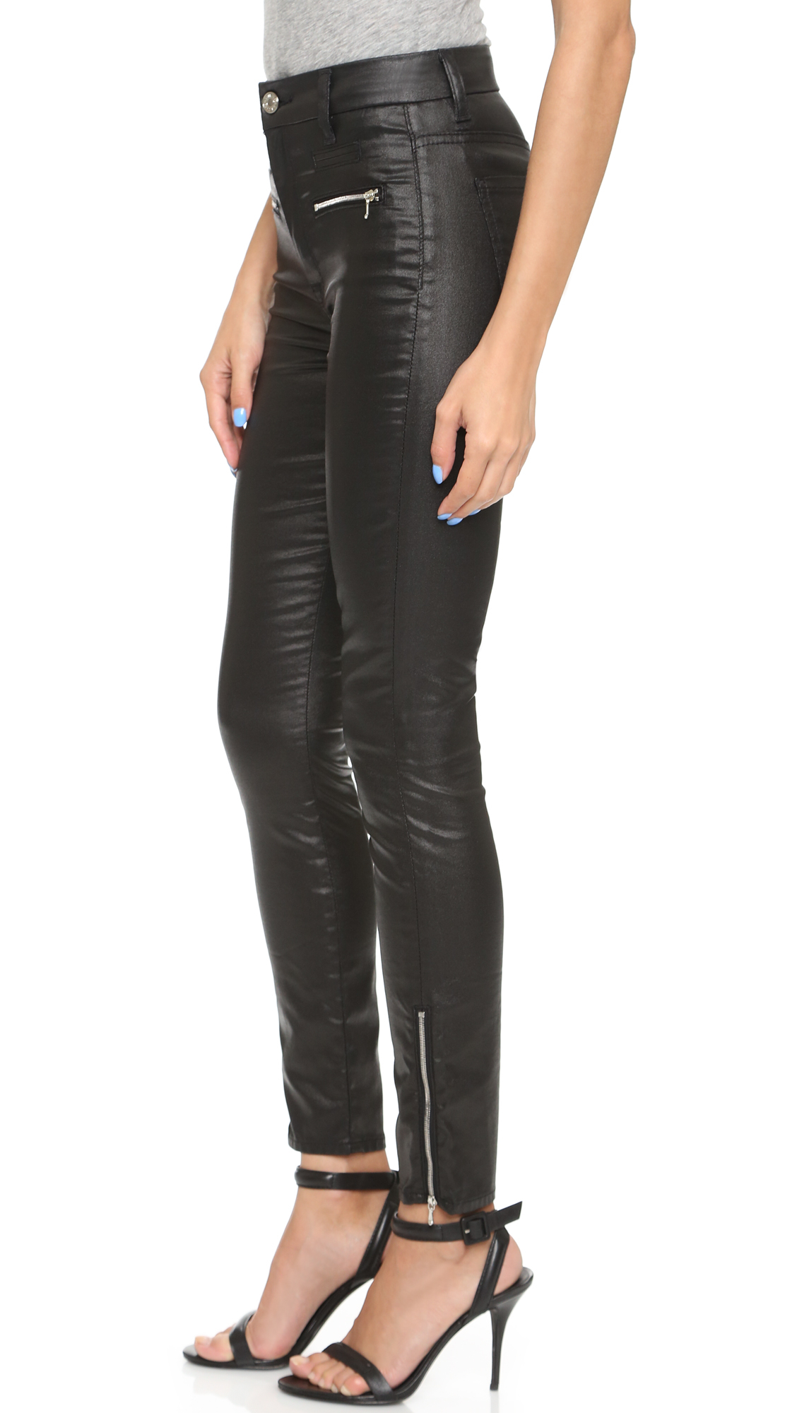 7 for all mankind High Waisted Zip Ankle Jeather Skinny Jeans ...