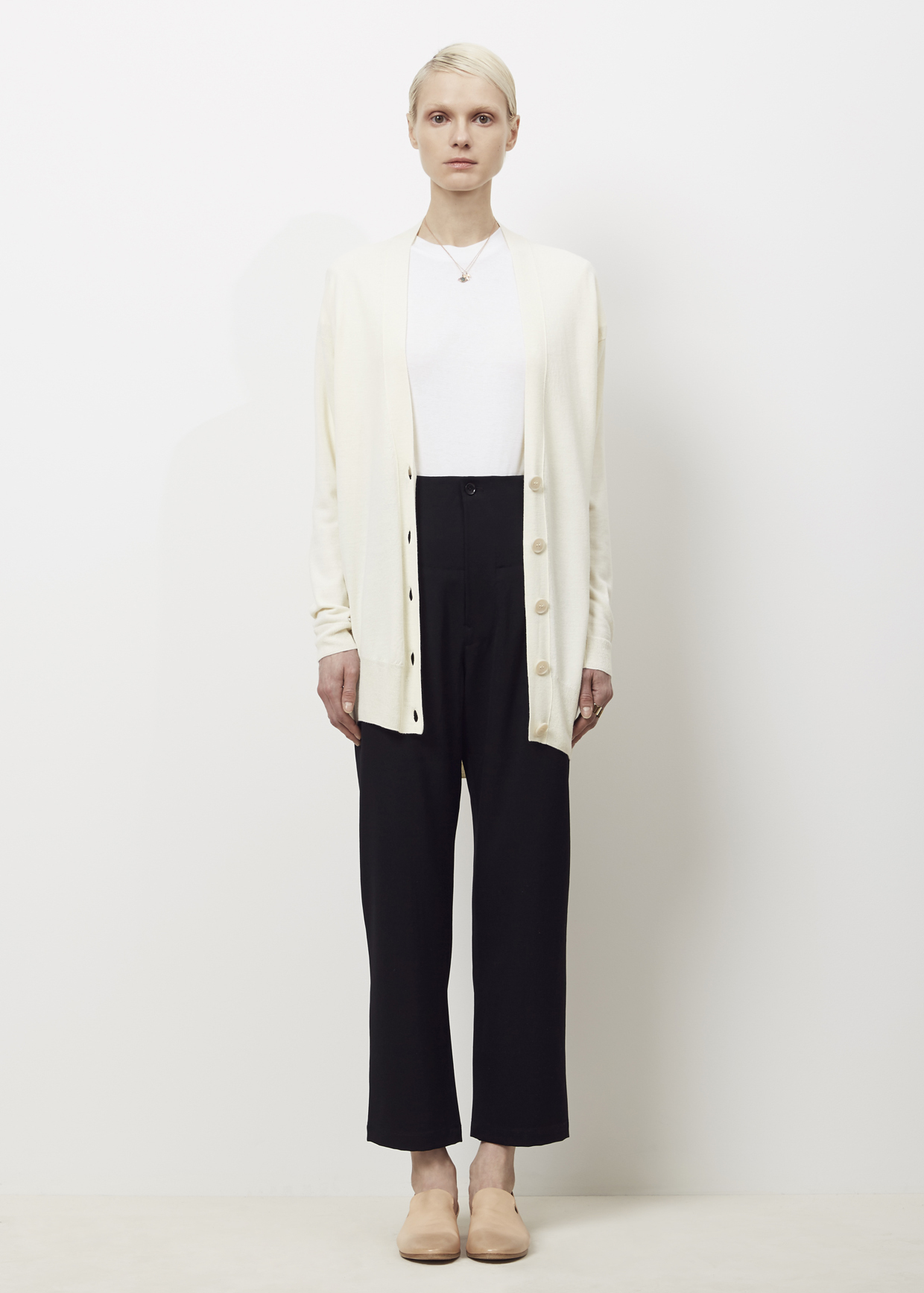 Mm6 by maison martin margiela Off White Long Cardigan in White | Lyst