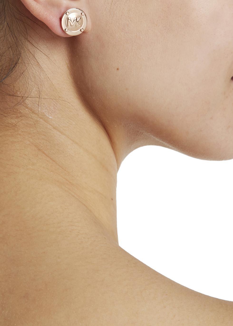 87c7fadc4e60 Michael Kors Rose Gold Tone Logo Stud Earrings In Metallic Lyst