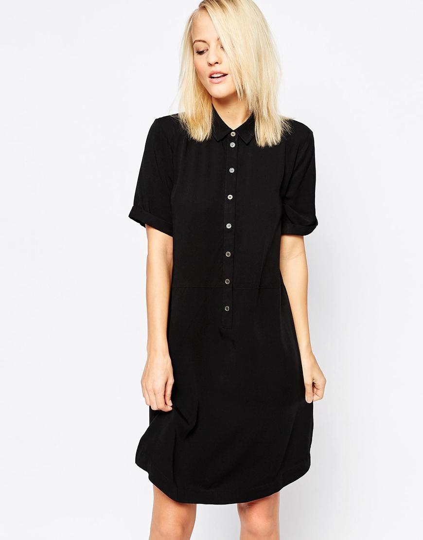 e8fef750570b Lyst - B.Young Short Sleeve Shirt Dress in Black