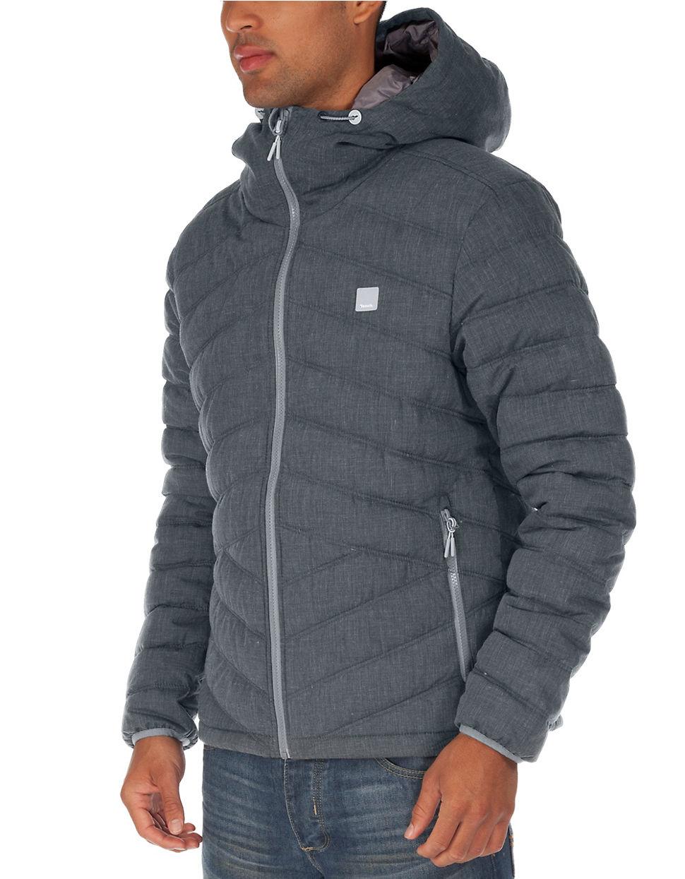 Bench Homage Puffer Coat In Gray For Men Black Lyst