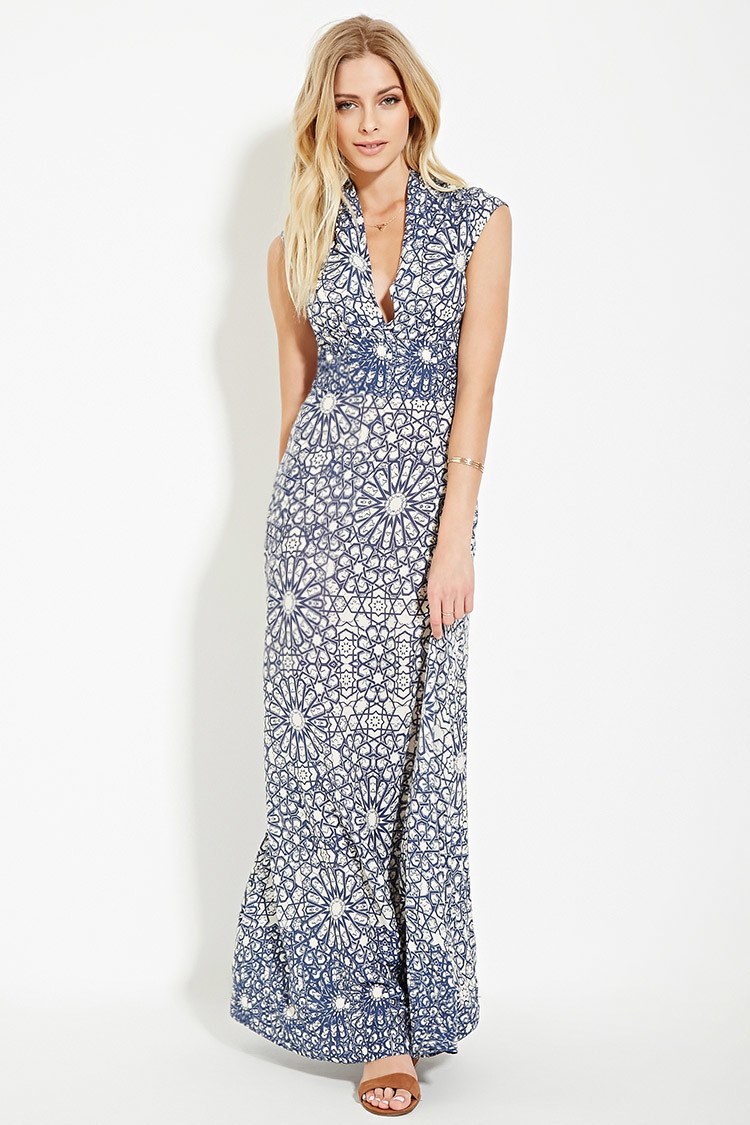 Lyst Forever 21 Contemporary Tile Maxi Dress In Blue