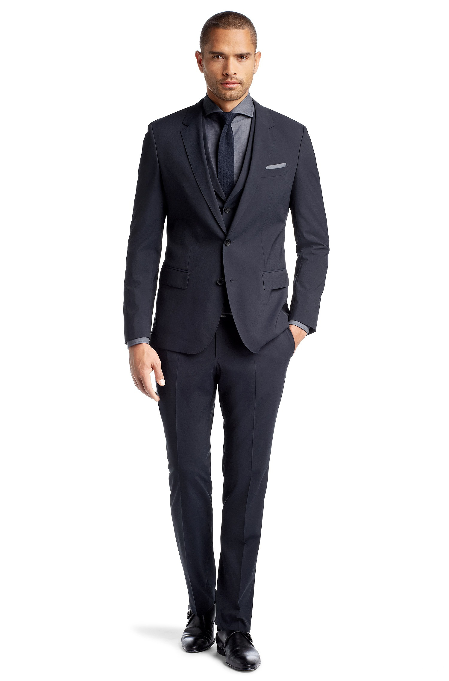 boss by hugo boss navy solid suit in blue for men navy. Black Bedroom Furniture Sets. Home Design Ideas