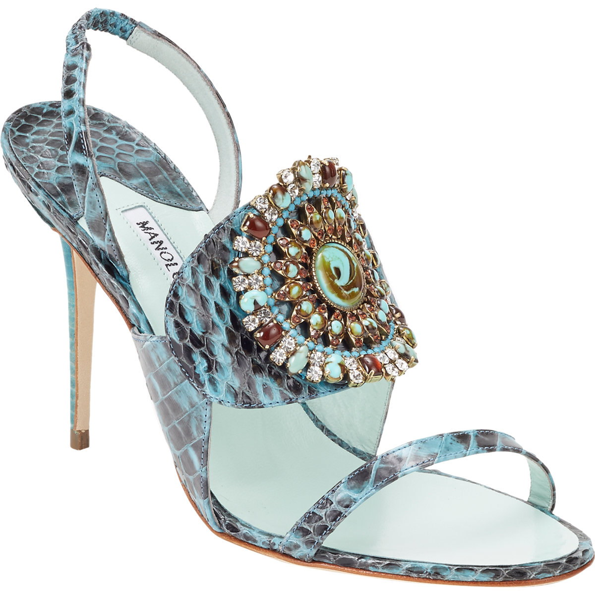 Lyst Manolo Blahnik Snakeskin Ronda Jeweled Sandals In Blue