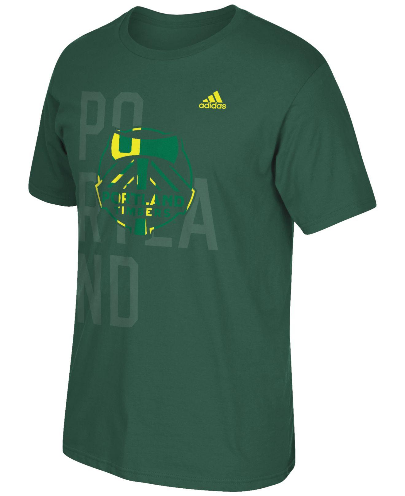 Adidas originals men 39 s portland timbers shine through t for T shirt printing in portland oregon