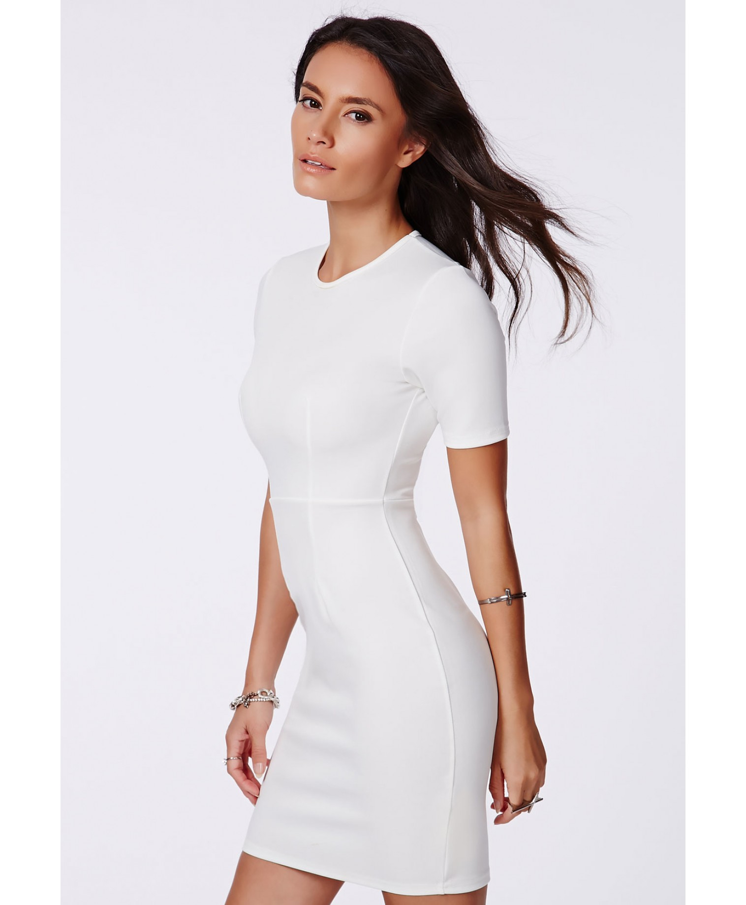 Missguided Aushi White Fitted Bodycon Mini Dress in White | Lyst