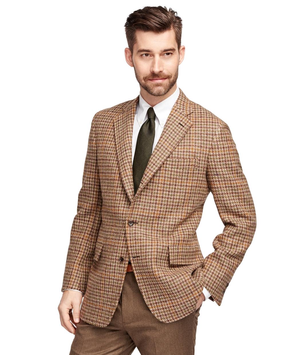 Brooks Brothers Own Make Harris Tweed Check Sport Coat In