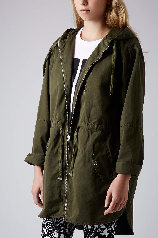 Topshop Parka Jacket in Natural | Lyst