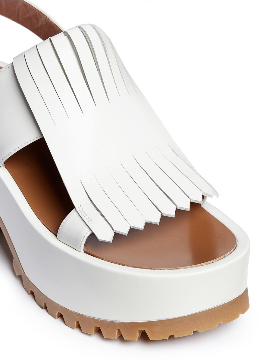 Leather Wedge Shoe With Ankle Strap