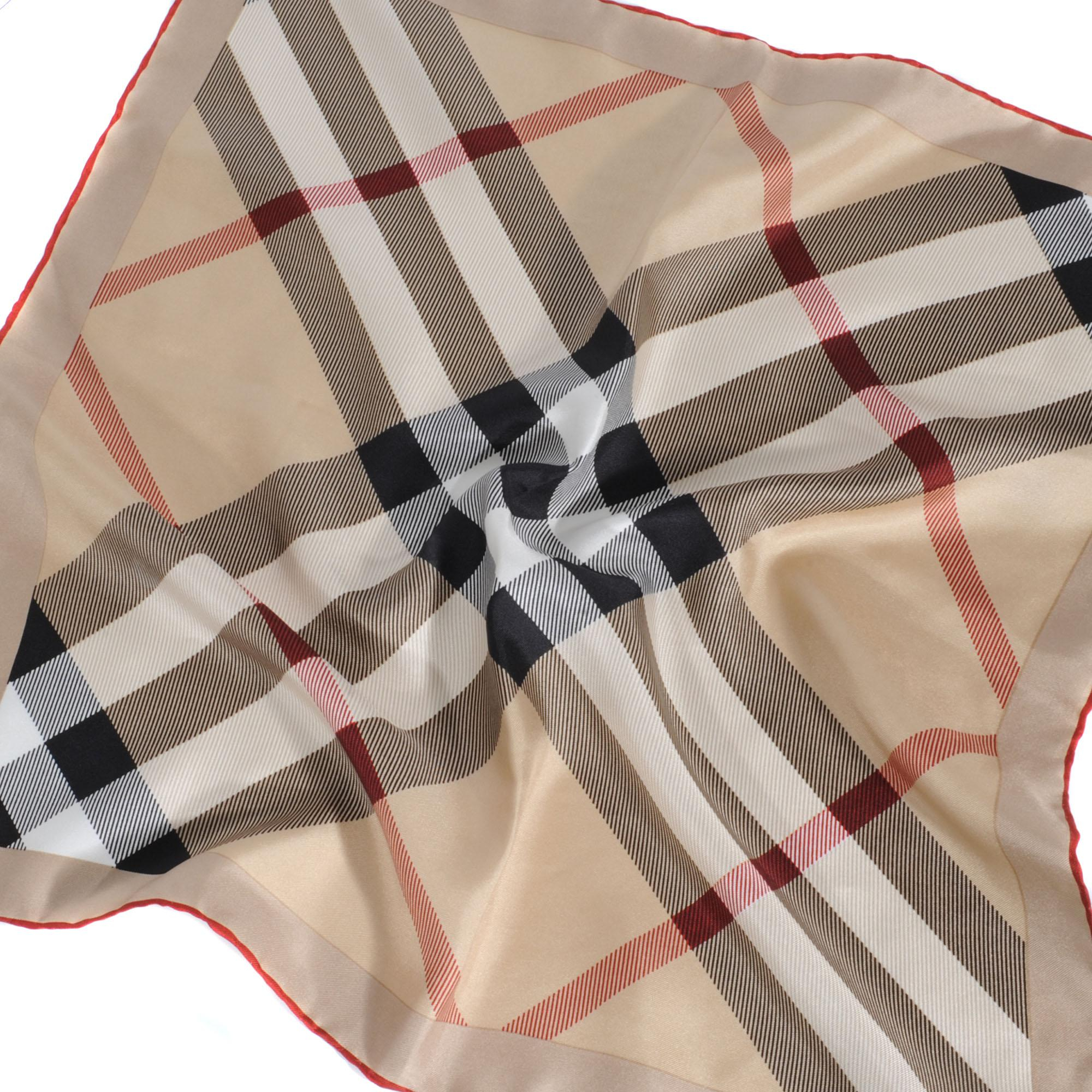 burberry silk scarf 50x50 cm in brown lyst. Black Bedroom Furniture Sets. Home Design Ideas