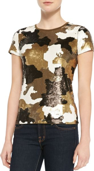 Michael Michael Kors Camouflage-pattern Sequined Top in Gold