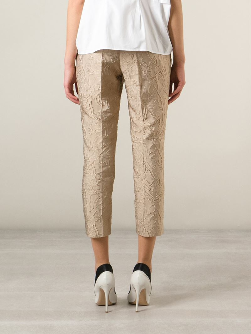 Mary katrantzou Embroidered Capri Trousers in Natural | Lyst