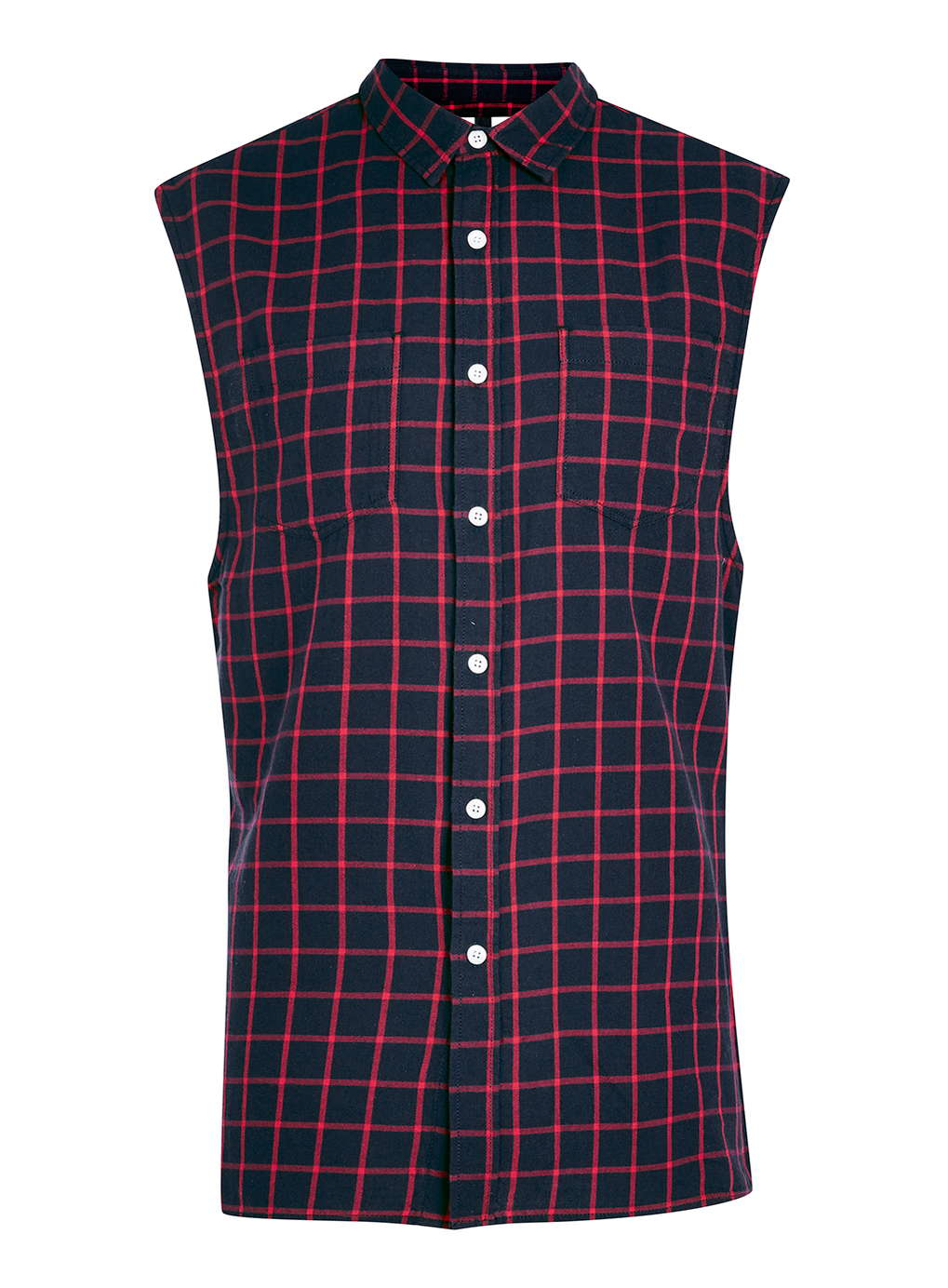 Topman Red Check Casual Sleeveless Shirt In Blue For Men