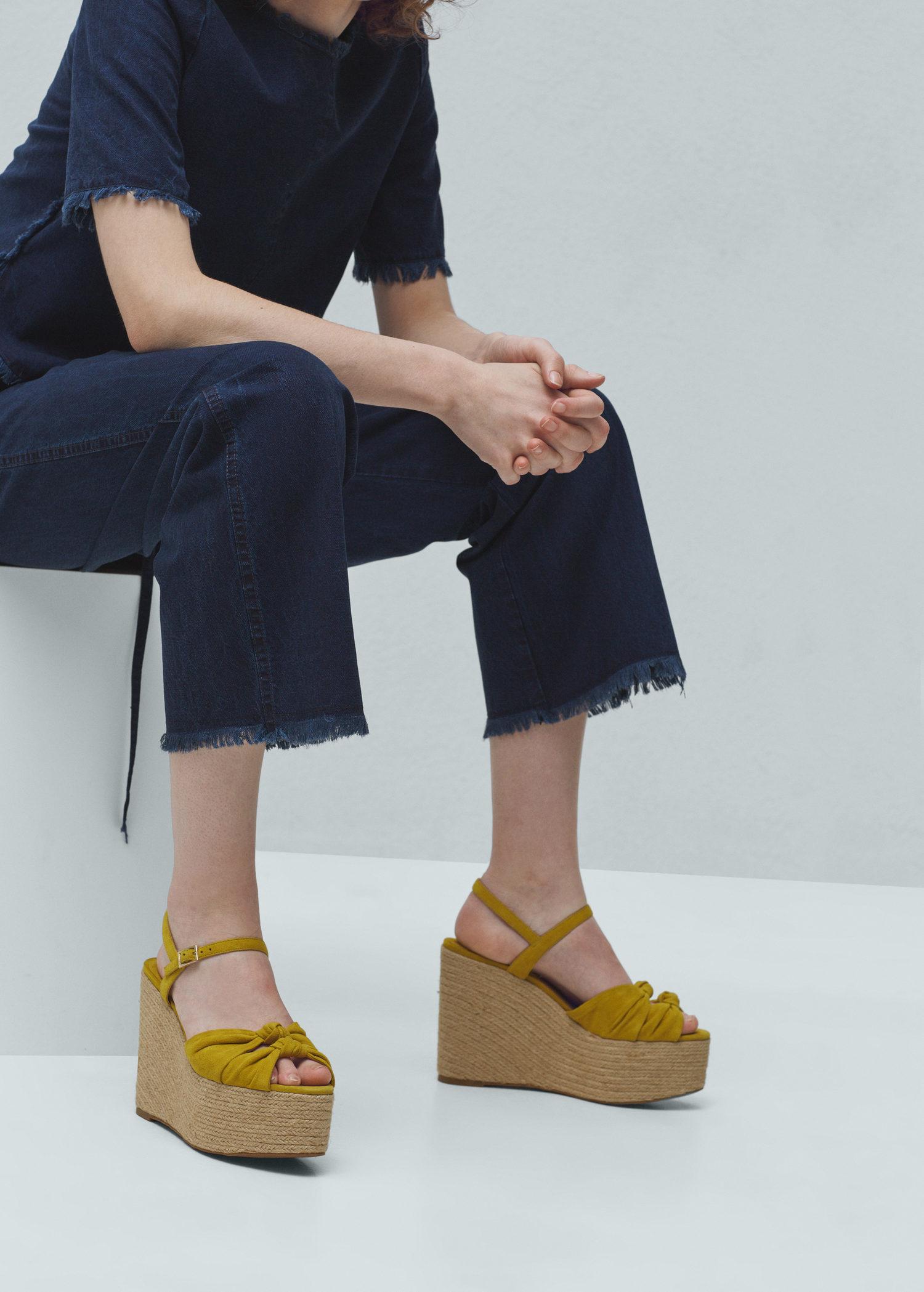 70140da345 Mango Platform Leather Sandals in Yellow - Lyst