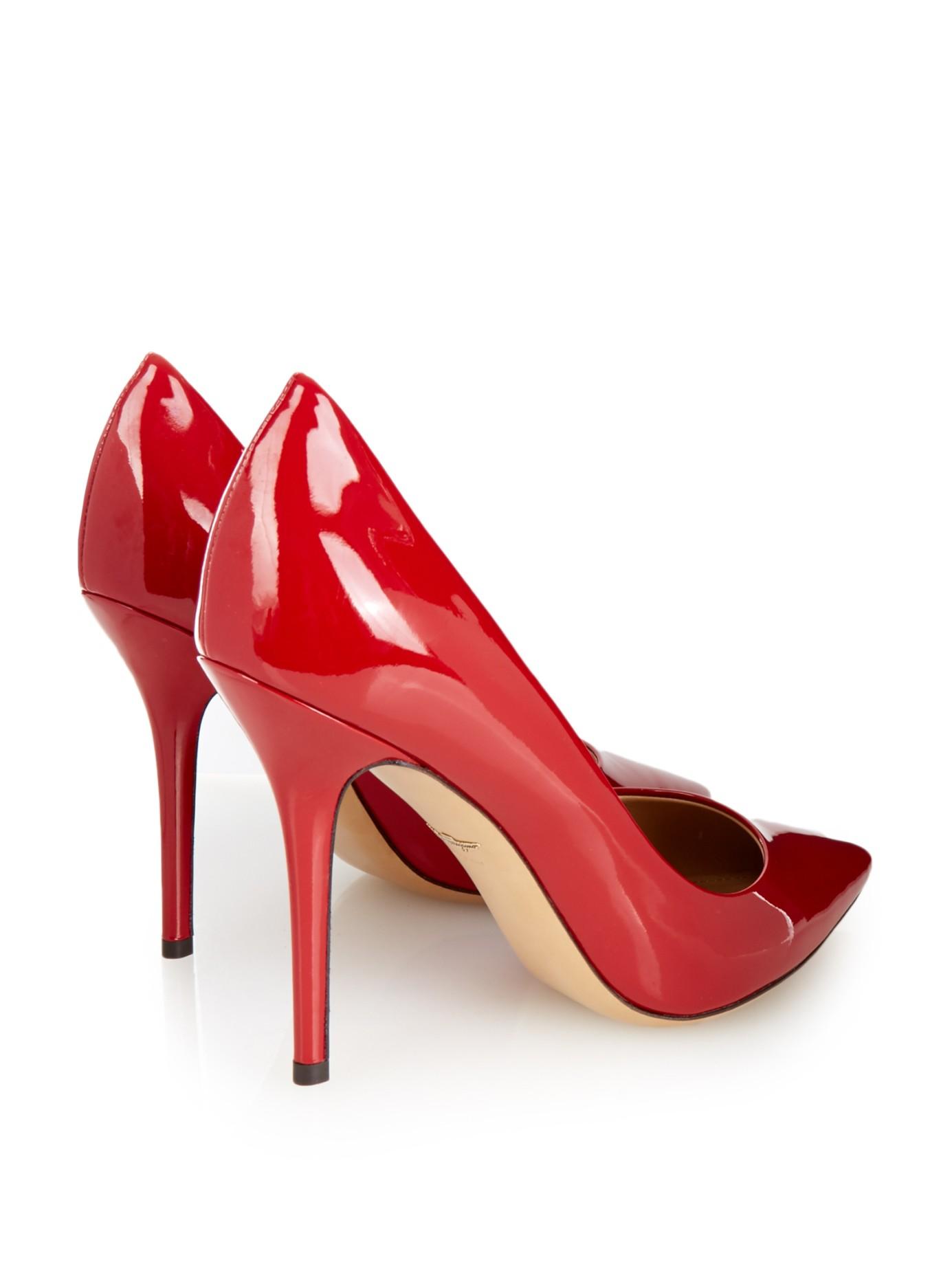 f27a5ae4aa4 Lyst - Ferragamo Susi Patent Leather Pumps in Red