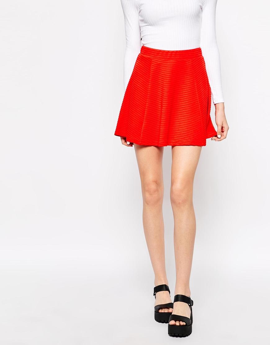f506116f2d Monki Mini Skater Skirt in Red - Lyst
