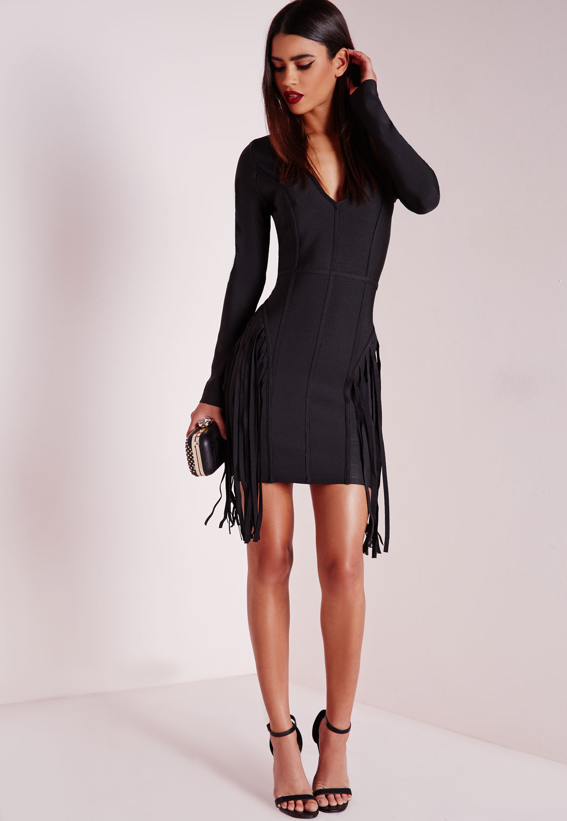 Black long sleeve bodycon dress at home