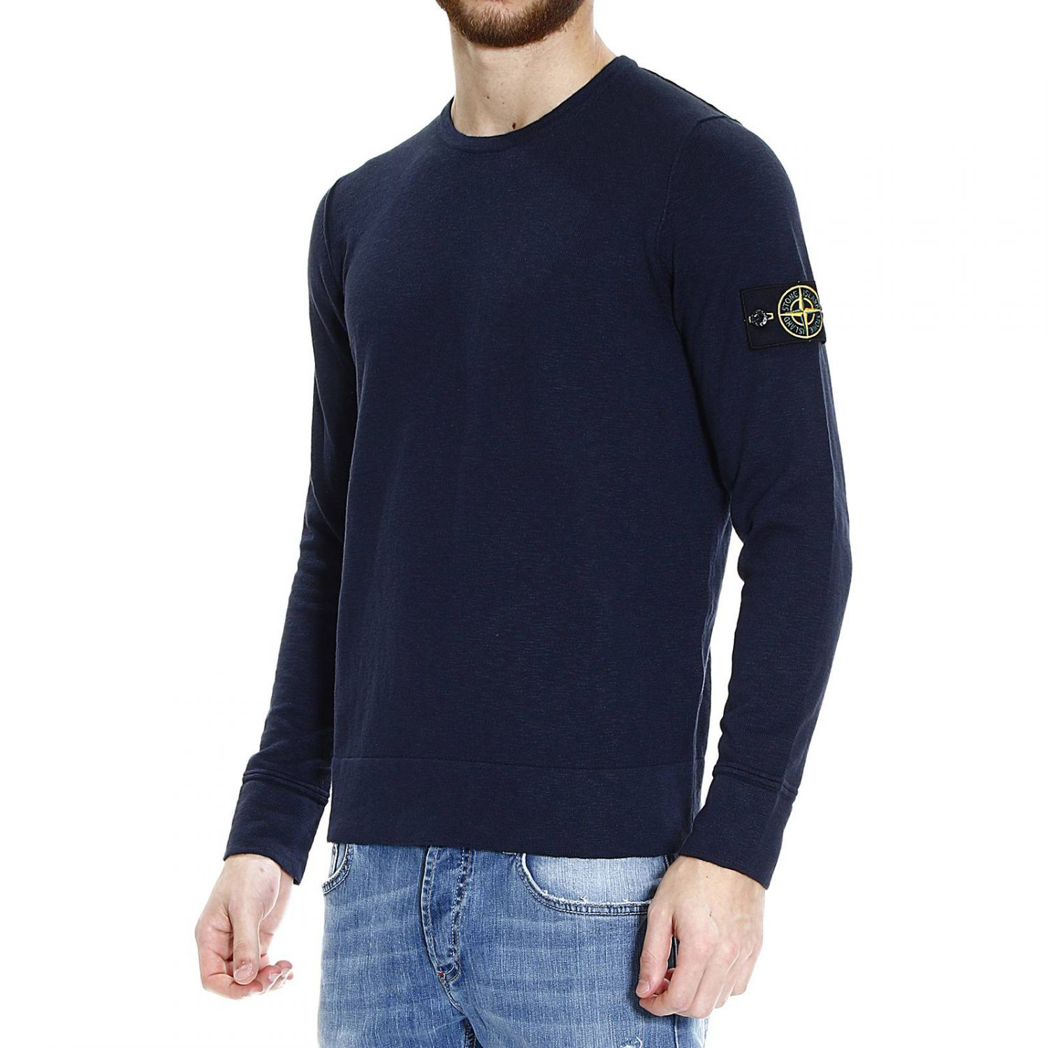 Sweater Knit : Lyst stone island sweater knit crew neck cotton slubbed