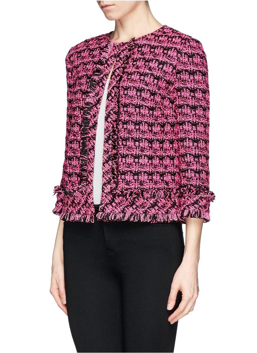 St John Fringe Metallic Tweed Knit Jacket In Pink Lyst