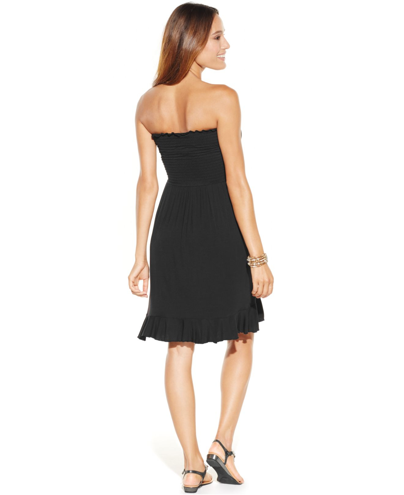 700f1faff6354 Lyst - Dotti Smocked Cover Up Dress in Black