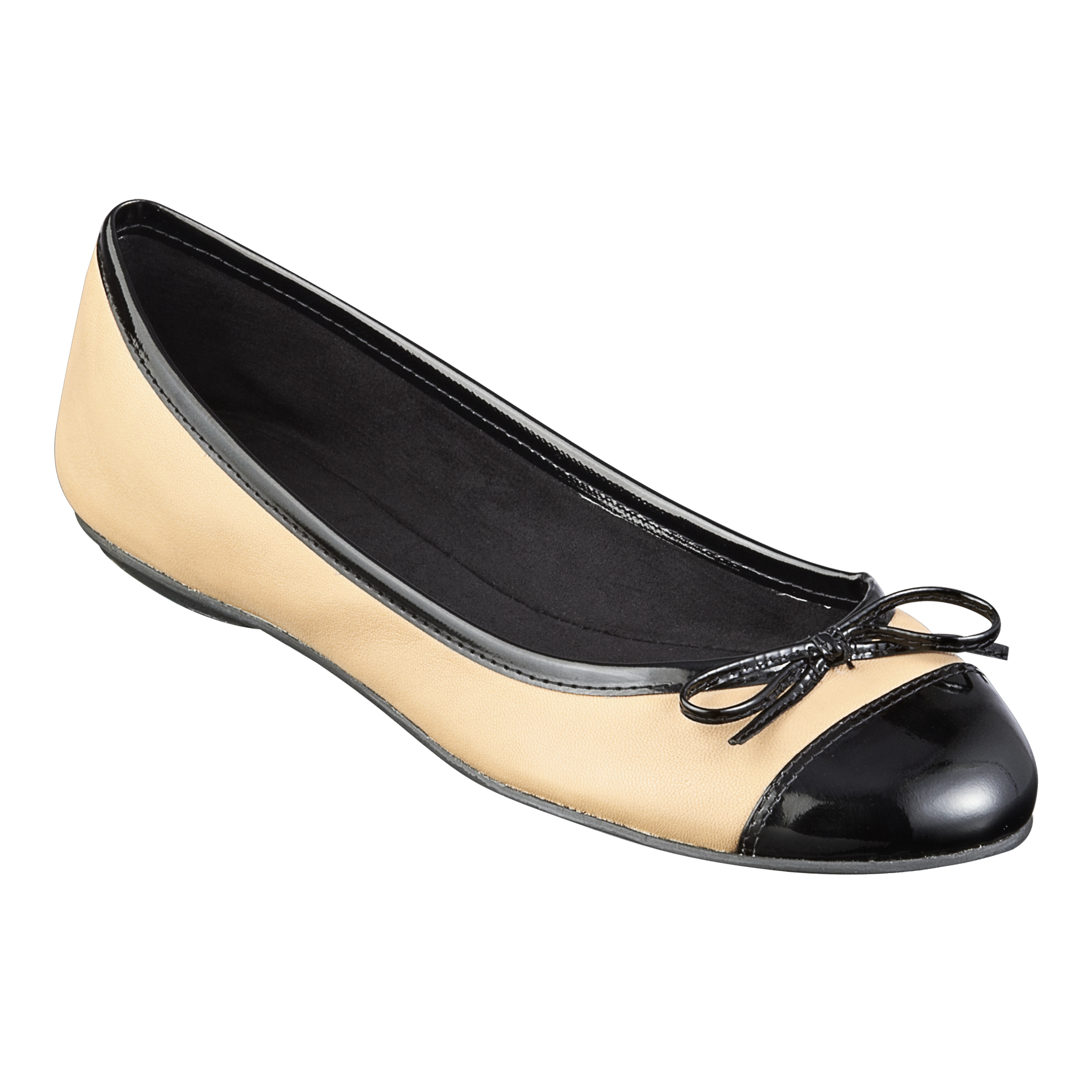 Nine West Cacey Round Toe Flats With Bow In Natural Lyst
