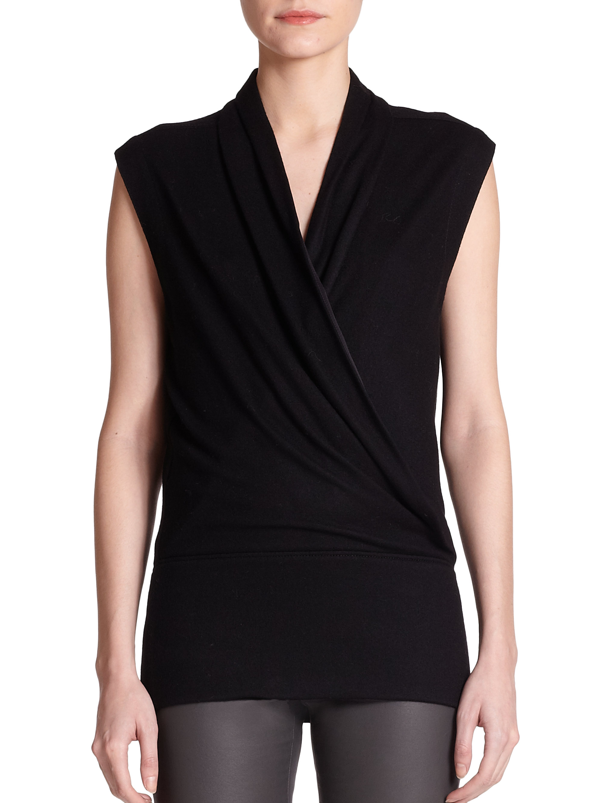 helmut lang sonar draped wool jersey crossover top in black lyst. Black Bedroom Furniture Sets. Home Design Ideas