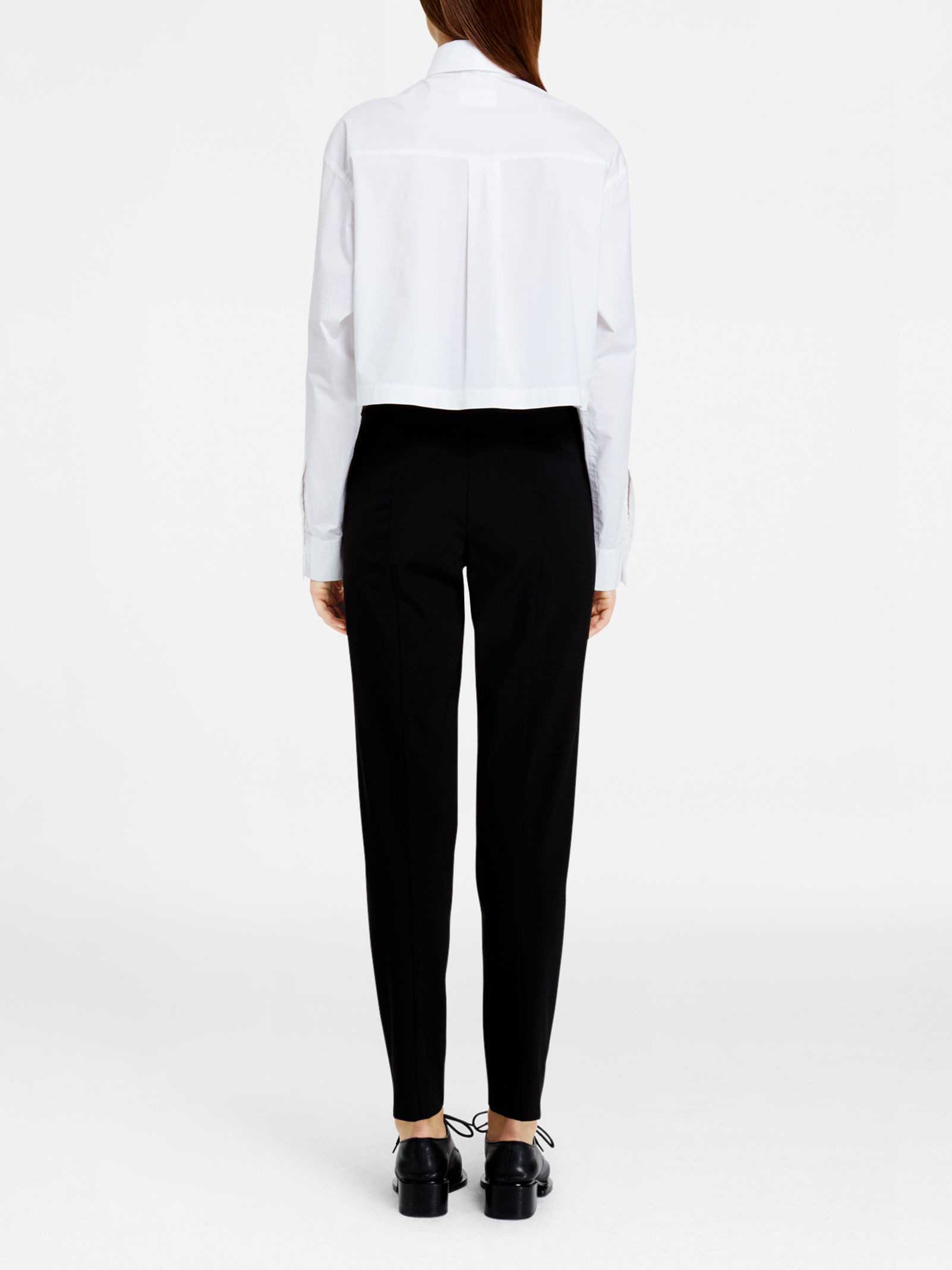 Dkny pure cropped collared shirt in white lyst for Cropped white collared shirt