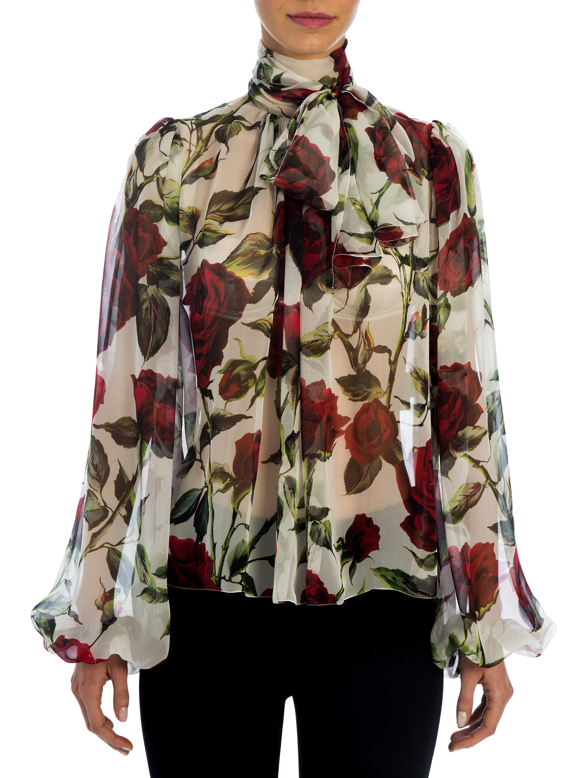 75a1131dc1bb17 Lyst - Dolce   Gabbana Rose Silk Chiffon Tie-neck Blouse in Red
