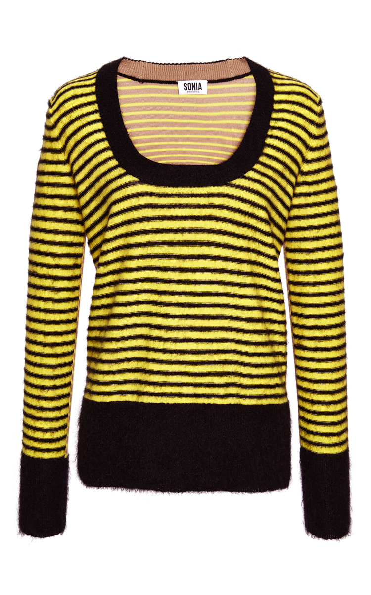 Sonia rykiel Yellow Wool And Mohair Striped Sweater in Yellow | Lyst