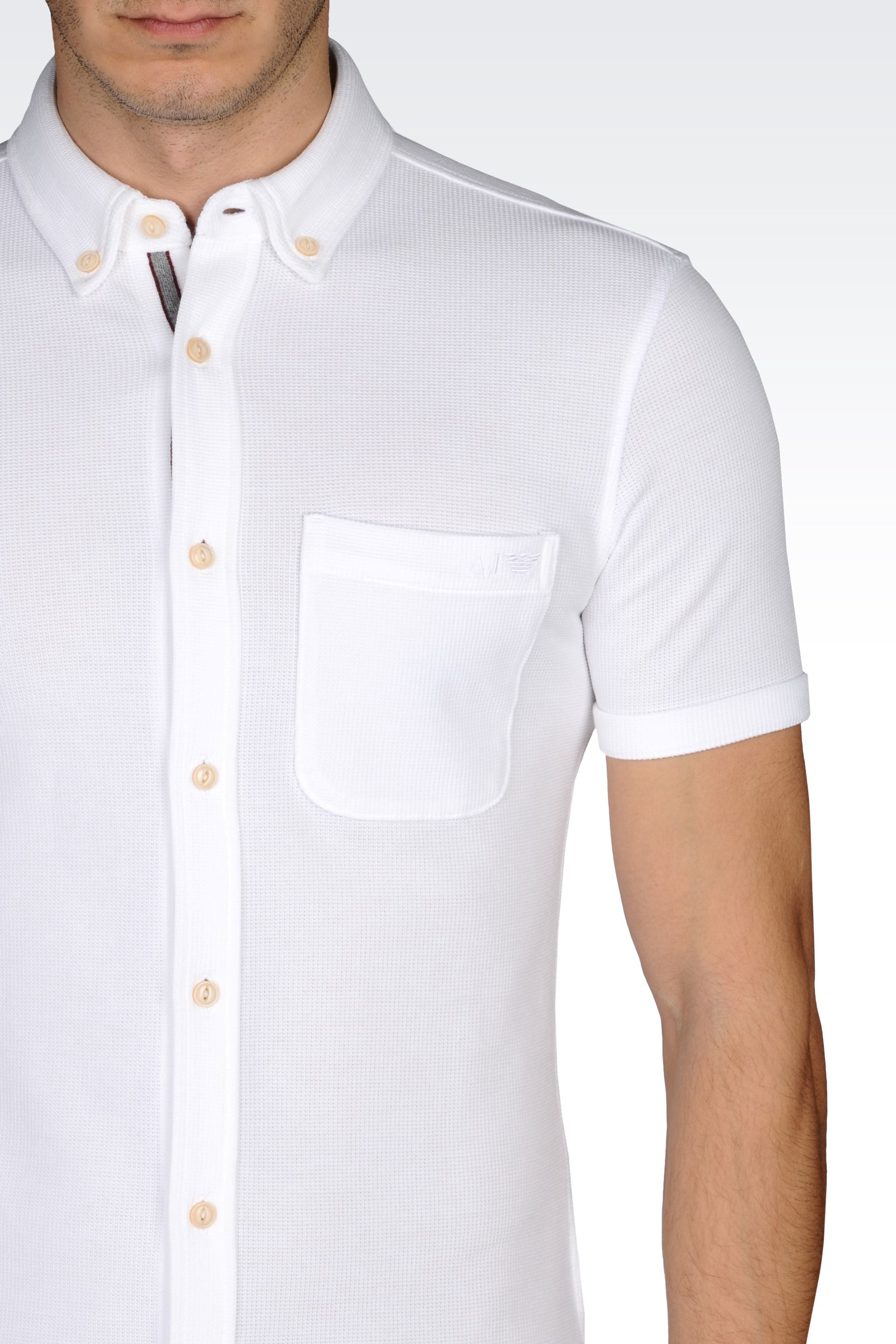 Armani Jeans Extra Slim Fit Shirt In Pique And Jersey In