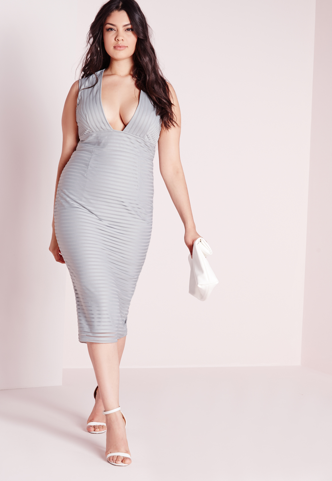 Lyst - Missguided Plus Size Ribbed Plunge Dress Grey in Gray