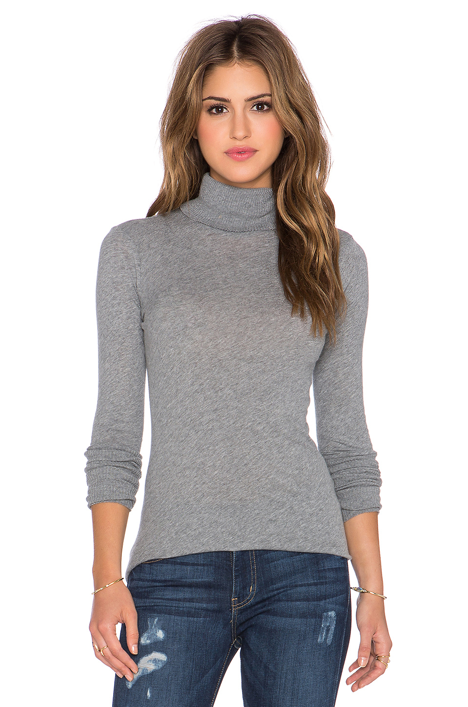 Enza costa Cashmere Long Sleeve Fitted Turtleneck in Gray | Lyst