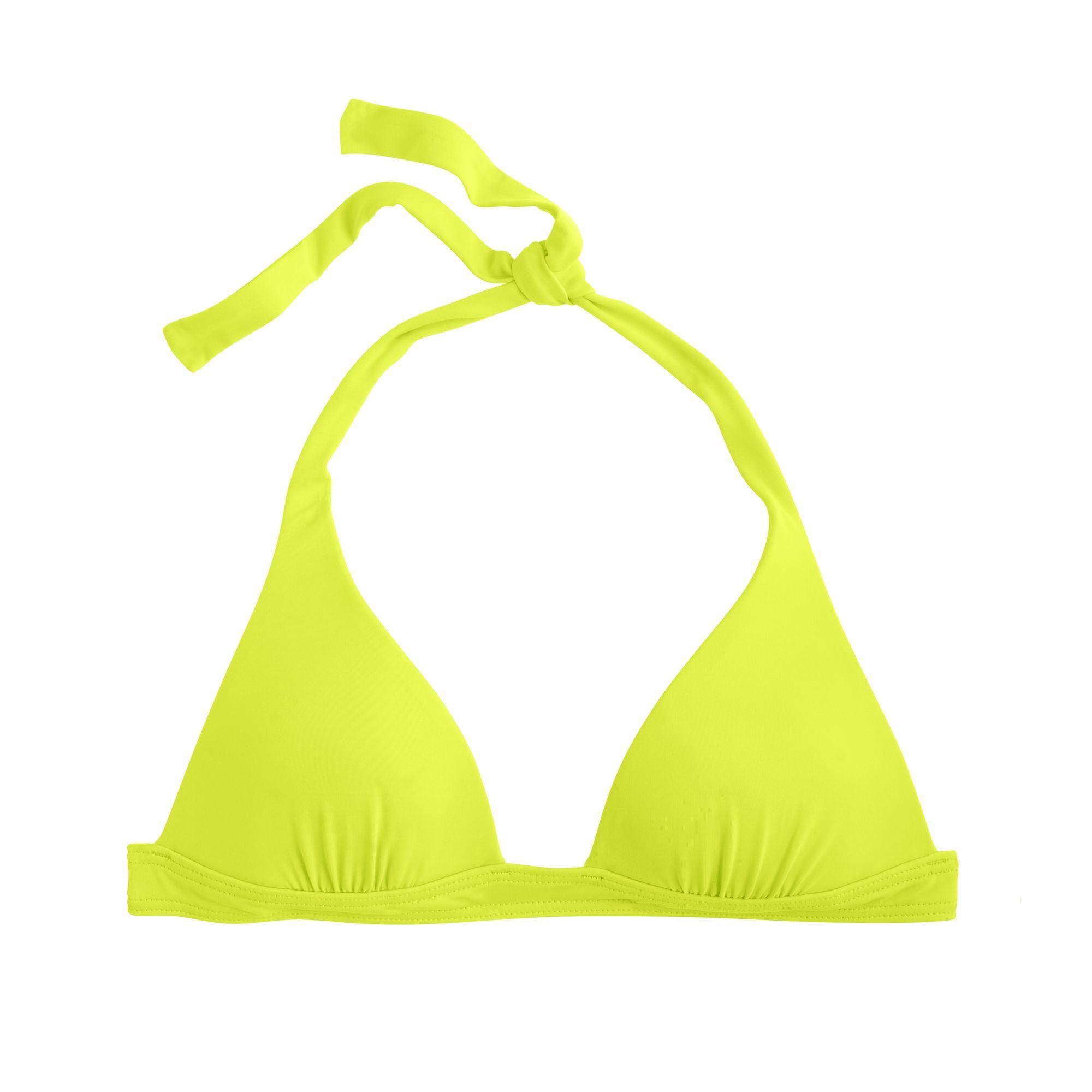 J.crew Neon Sculpted Halter Bikini Top in Yellow (neon ...