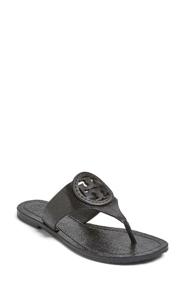 Tory Burch Louisa Logo Sandal In Black Lyst