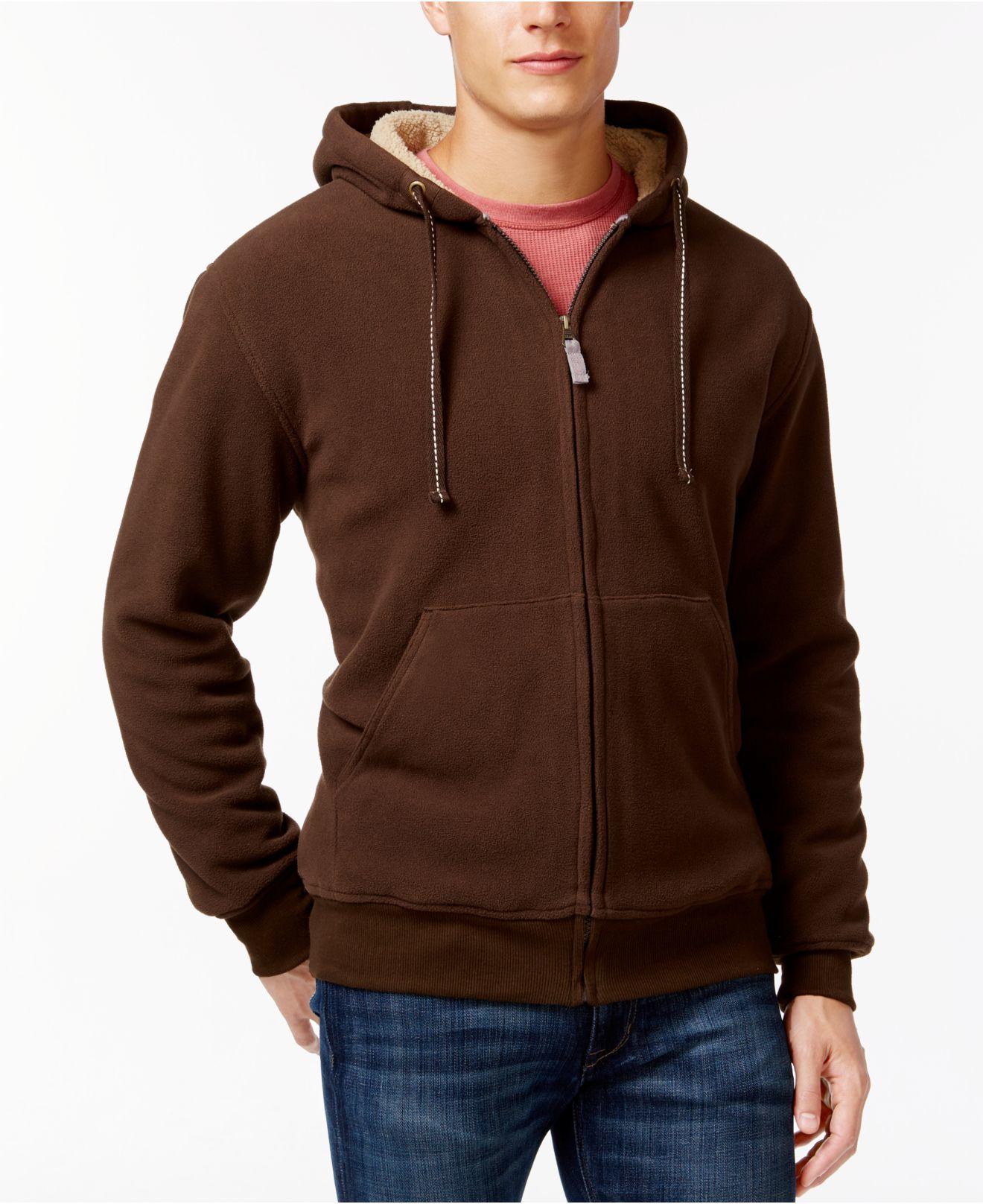 Lyst weatherproof vintage sherpa fleece hoodie in brown for Weatherproof vintage men s lightweight flannel shirt
