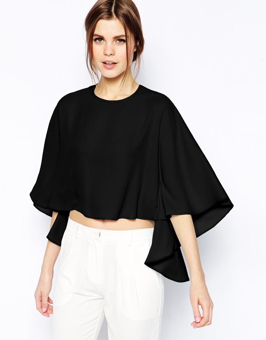 f4eb29fd203ea Lyst - ASOS Cape Sleeve Boxy Crop Top in Black