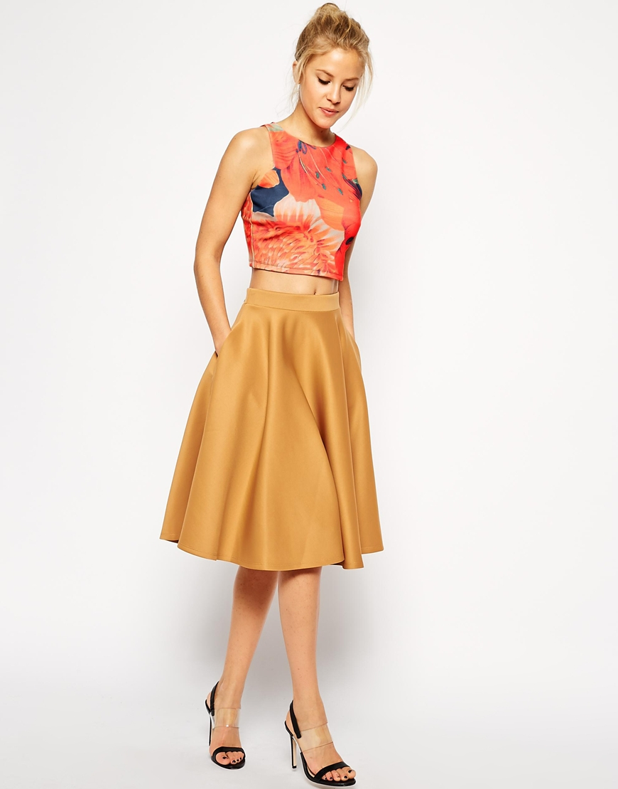 Asos Full Midi Skirt In Scuba With Pockets in Brown | Lyst