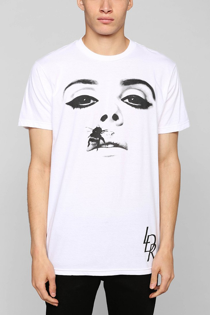 Urban outfitters lana del rey bee lips tee in white for for Ray donovan white dress shirt brand