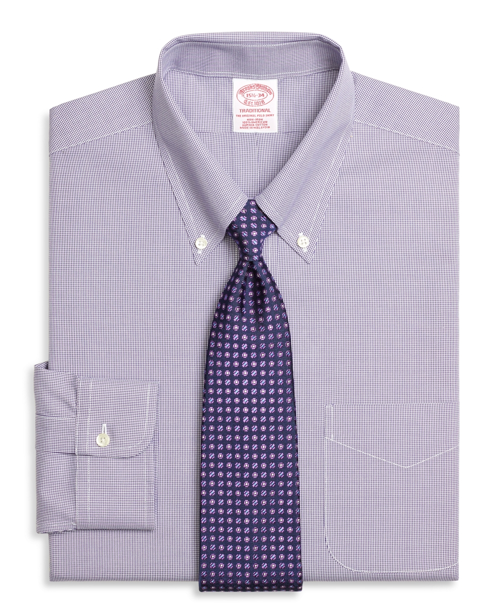 Brooks brothers non iron milano fit houndstooth dress for Brooks brothers non iron shirts review