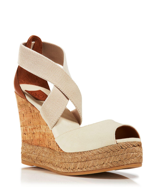 a94f0e94962c56 Lyst - Tory Burch Peep Toe Canvas Platform Sandals - Cork Wedge Heel ...