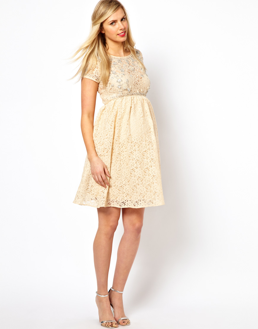 Asos Maternity Lace Skater Dress With Embellishment In