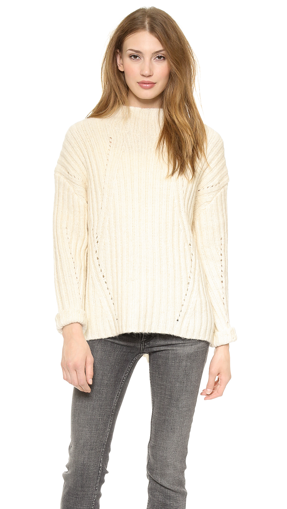 Nili lotan 18-8 Oversized Mock Neck Ribbed Sweater - Cream in ...