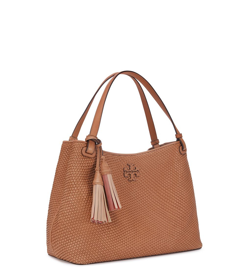 6e9287aed00a Lyst - Tory Burch Thea Woven-leather Center-zip Tote in Brown