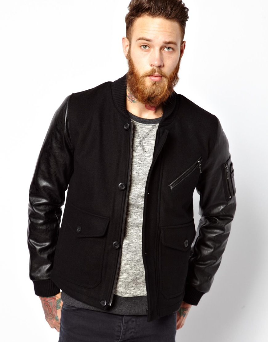Mens Leather Sleeve Bomber Jacket | Outdoor Jacket