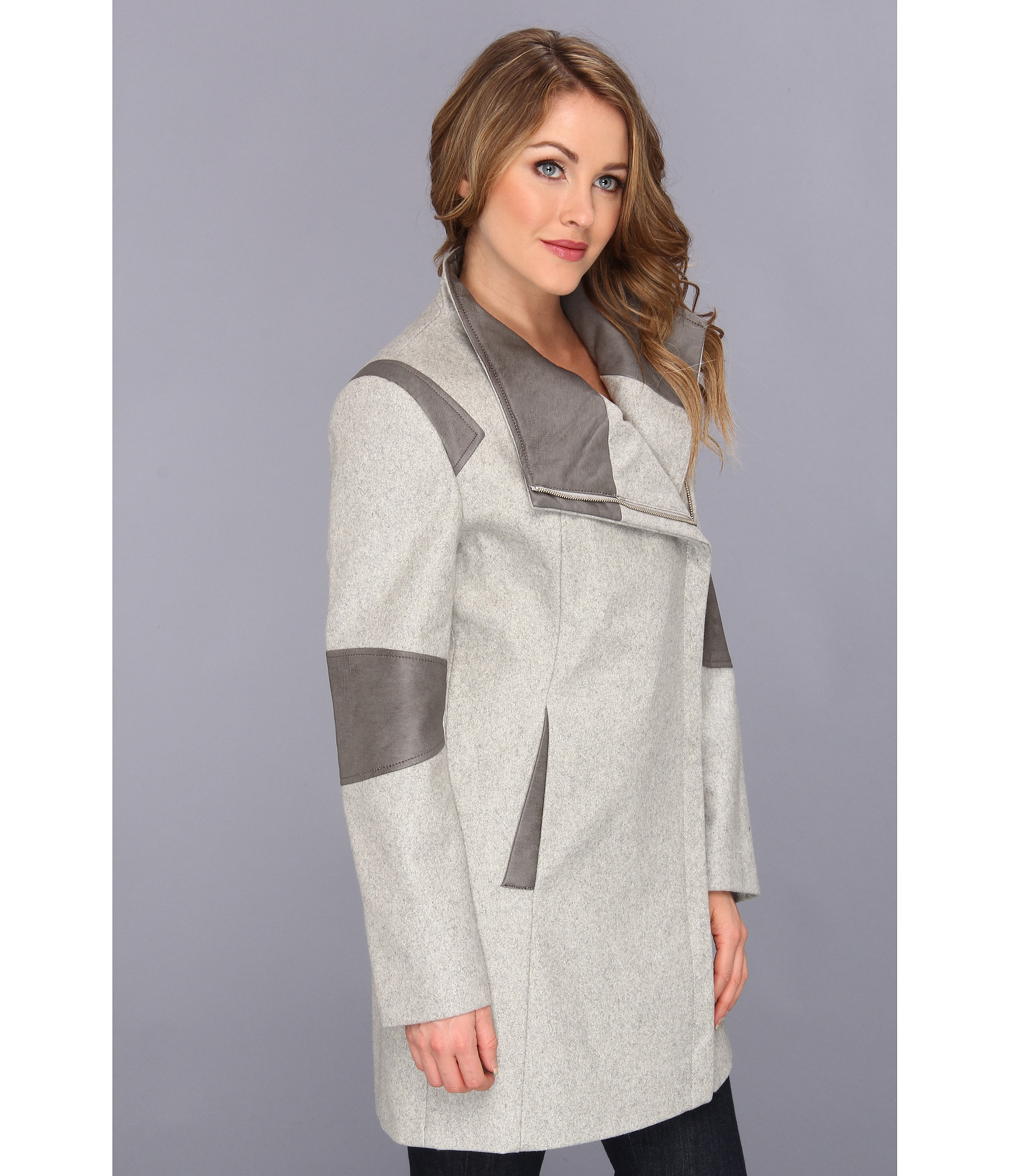 80e68e33761 Lyst - Calvin Klein Asymmetrical Coat With Faux Leather Trim in Gray