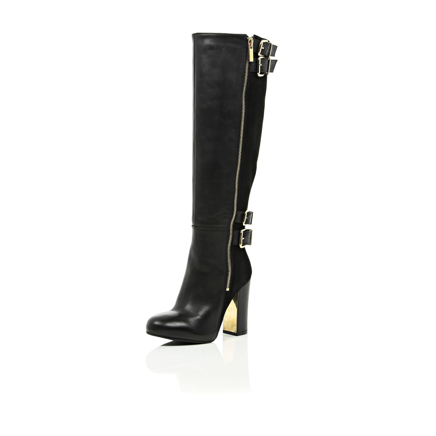 river island black leather zip up knee high boots in black